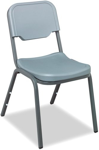 "Iceberg ICE64017 Heavy Gauge Steel Frame Rough""N""Ready Original Stack Chair, 250 lbs Load Capacity, 17-1/2"" Width x 32-1/4"" Height x 22-3/4"" Depth, Charcoal (Pack of 4)"