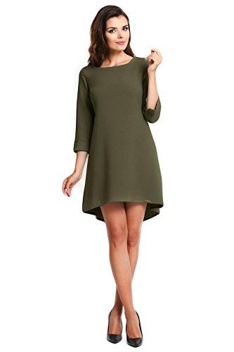 Oliv Kellerfalte Elegantes trapezförmiges Awama Kleid mit 6qaC0