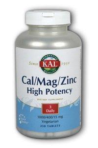 KAL Cal/Mag/Zinc Tablets, 1000/400/15 mg, 250 Count - Mag 250 Tabs