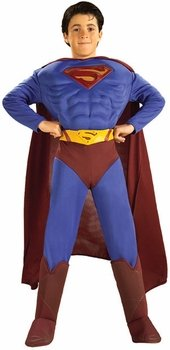 Deluxe Muscle Chest Superman Child Costume - Medium - Superman Returns Deluxe Toddler Costumes