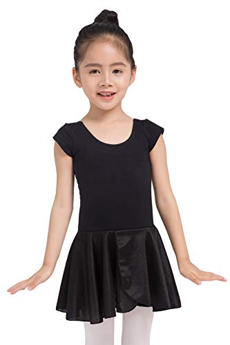Dancina Girls Leotard Ballet Dress Short Sleeve Full Front Lining 8 Black