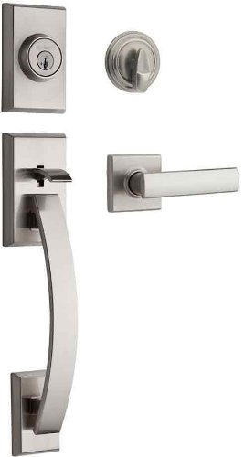 (Kwikset Tavaris Single Cylinder Handleset w/Vedani Lever featuring SmartKey in Satin Nickel)