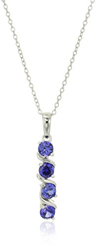 (Sterling Silver Created Alexandrite Sapphire Four Stone Pendant Necklace, 18