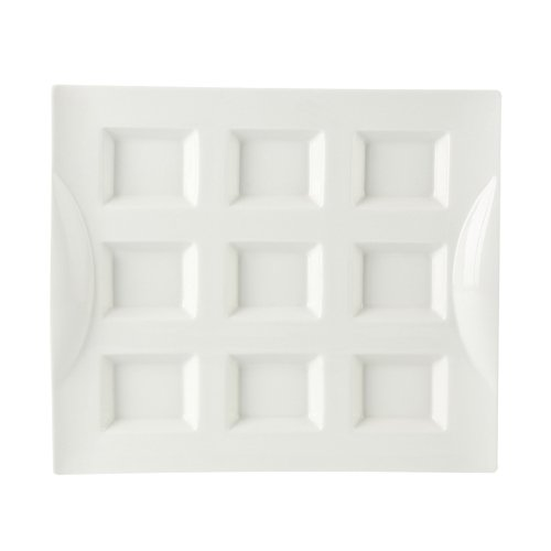 CAC China CN-9T12 Porcelain Rectangular 9 Compartment Tray, 11-3/4'' by 10-1/8'' by 1-3/8'', Super White (Box of 12)