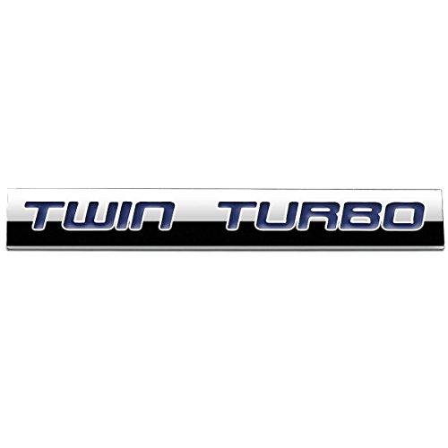 "Blue Letter""Twin Turbo"" Logo Metal Decal Emblem"