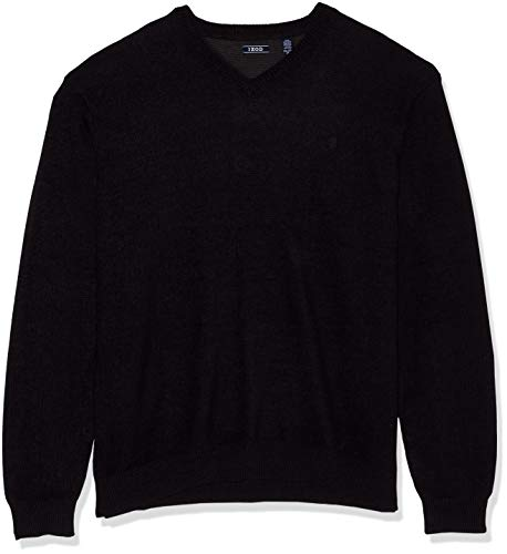 IZOD Men's Big and Tall Premium Essentials Solid V-Neck 12 Gauge Sweater, New Black, 2X-Large