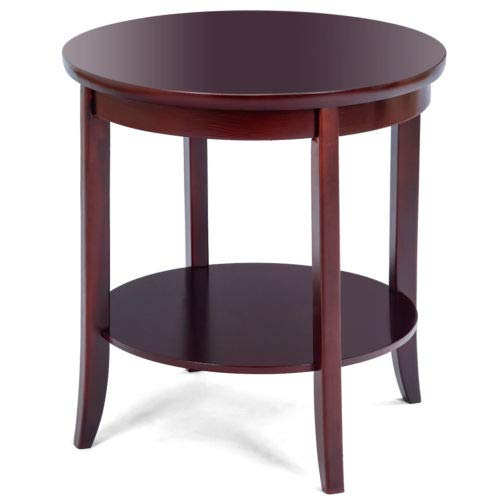 Cypressshop Wood Round End Table Sofa Side Couchside Coffee Table Storage Shelf Night Stand Desk Cherry Finish Home Furniture