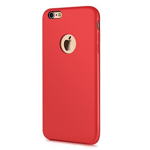 Silicone iPhone 6 Plus Case, Silicone iPhone 6s Plus Case, Liquid Gel Rubber Slim Fit Shockproof Cover with Soft Microfiber Lining Cloth Cushion for Apple iPhone 6/6s plus protective case [JOYROOM] (Case Silicone Red Cover)