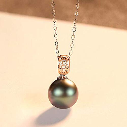 (XPDX.ZB@ 18K Gold Chain Pendant Necklace for Women Real Saltwater Pearl 8-9mm White Akoya Pearl/Black Tahitian Pearl with 18K Gold Chain and Jewelry Box is Included for Free,Black)