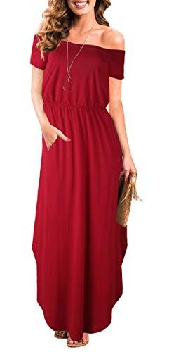 Women Off Shoulder Empire Waist Short Sleeve Slit Party Long Maxi Dress Pockets (XL, Red Maxi Dress)