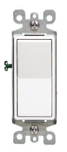 Leviton 5611-2WS 15A Decora Single Pole Illuminated Switch with Ground, 5-Pack, White (15a Single)