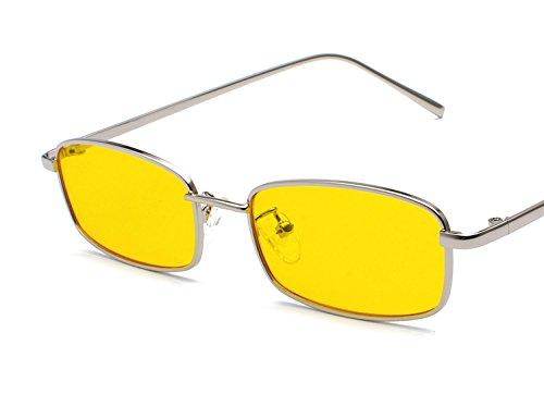 soleil lunettes Ultra Rétro Unisex Vintage Lunettes de Rectangulaire Jaune Bmeigo léger B6 Mode UV400 Métal Femme 1qE87xw