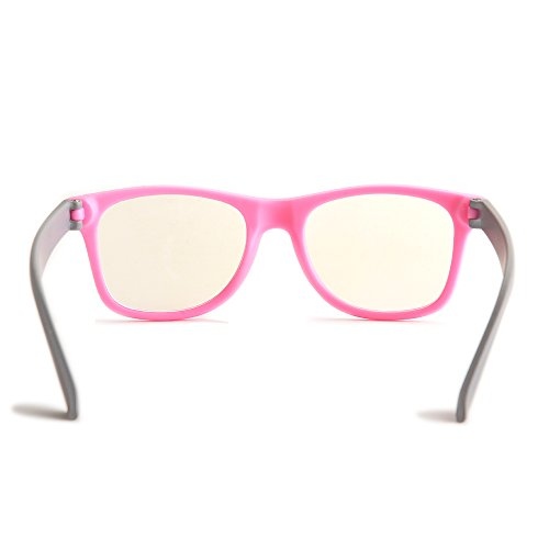 Gudzws Kids Anti Blue Light Glasses Rectangle Plastic Frame Protect Eyesight from Digital Display Computer TV Boys Girls Child Unisex Pink (Suitable for 5-12 Years Old) by Gudzws (Image #4)