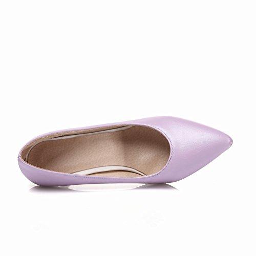 MissSaSa Damen elegant Stiletto Spitz Leder Pumps/Brautschuhe Violett