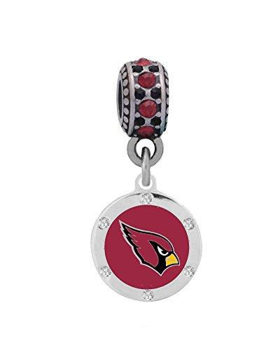 Arizona Cardinals Round Crystal Charm Fits European Style Large Hole Bead Bracelets Arizona Cardinals Crystal