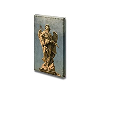 Canvas Prints Wall Art - Vintage Image of an Angel Statue in Saint Angel Bridge Rome, Italy | Modern Wall Decor/Home Art Gallery Wraps Giclee Print & Wood Framed. Ready to Hang - 48