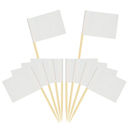 (Wobe 200 Pack Blank Toothpick Flags, White Flags Labeling Marking Cake Toppers Shower Decoration Dinner Flags Cocktail Sticks for Cupcake Sandwiches Appetizers Cheese)