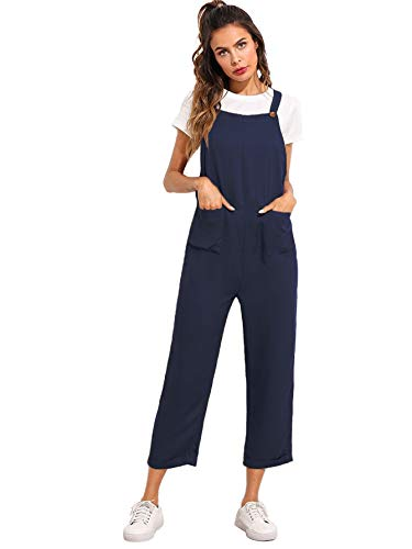 Verdusa Women's Sleeveless Straps Pockets Plaid Culotte Jumpsuit Overalls Blue M
