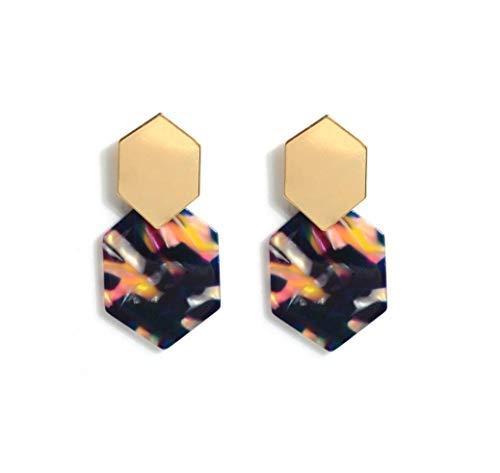 (Acrylic Resin Hoop Earrings - Tortoise Shell Earrings for Women Girl Boho Jewelry-purple)