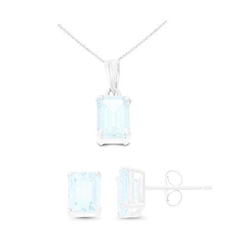 14K White Gold 5 x 7 mm. Emerald Cut Genuine Aquamarine Earrings + Pendant Set With Square Rolo Chain