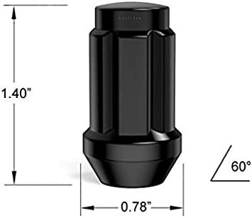 Compatible with Jeep Cherokee Wrangler Liberty and More 1.4 inch Length 1//2x20 Threads Cone Acorn Taper Seat Closed End Includes 1 Socket Key Tool 20pcs Black Spline Drive Lug Nuts