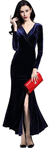 Ababalaya Women's Retro V-Neck Empire Long Sleeve Silky Velvet Long Dress,Dark Blue,XXL