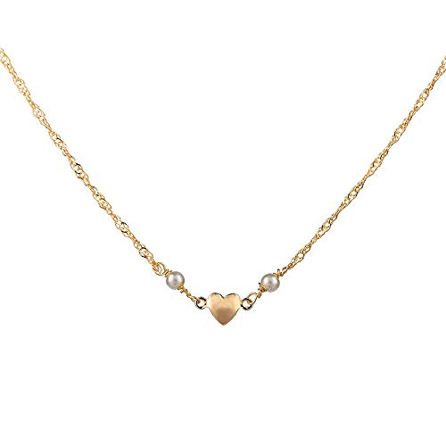 PAERAPAK Pearl Choker Necklace for Women - Delicate Pearls Choker Necklace 14K Gold Filled Heart Pendant Choker Necklace Weeding Gifts for Women Girls