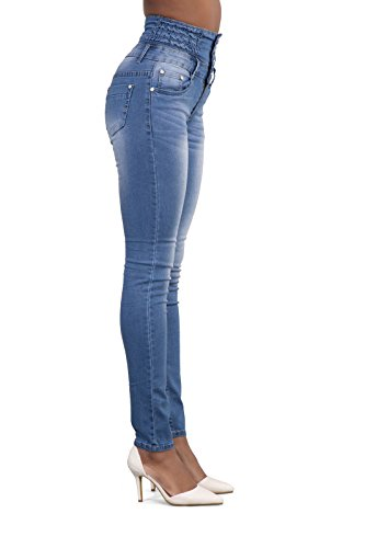 Sexy Denim Vita Pants Pantaloni Alta Jeans Moda Azzurro A Skinny Bottoni Con Donna Lungo Onlyoustyle Pqn1zxawAW