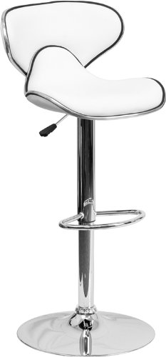 Flash Furniture 2 Pk. Contemporary Cozy Mid-Back White Vinyl Adjustable Height Barstool with Chrome Base (Mission Style Wine)