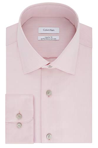 Calvin Klein Men's Dress Shirt Regular Fit Non Iron Herringbone, Coral Reef, 16