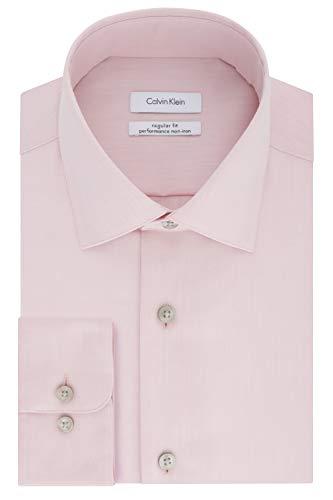 Calvin Klein Men's Dress Shirt Regular Fit Non Iron Herringbone, Coral Reef, 16.5