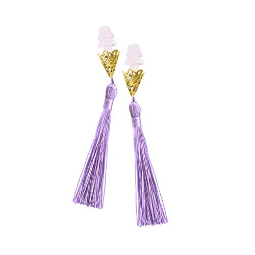Breakfast at Tiffany's Lavender and Gold Tassel Earplugs