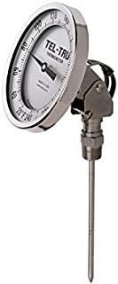 "product image for Tel-Tru 41100664 Model Aa375R Resettable Bi-Metal Process Grade Thermometer, Stainless Steel, 3"" Dial, 1/2"" Npt Adjustable Angle Back Connection, 0.250"" Diameter x 6"" Long 304Ss Stem, 50/500 Degrees Fahrenheit, +/- 1% Full Span Accuracy"