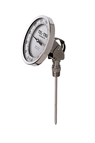 Tel-Tru 41100950 Model Aa375R Resettable Bi-Metal Process Grade Thermometer, Stainless Steel, 3'' Dial, 1/2'' Npt Adjustable Angle Back Connection, 0.250'' Diameter x 9'' Long 304Ss Stem, 0/200 Degrees Fahrenheit, +/- 1% Full Span Accuracy by Tel-Tru (Image #1)