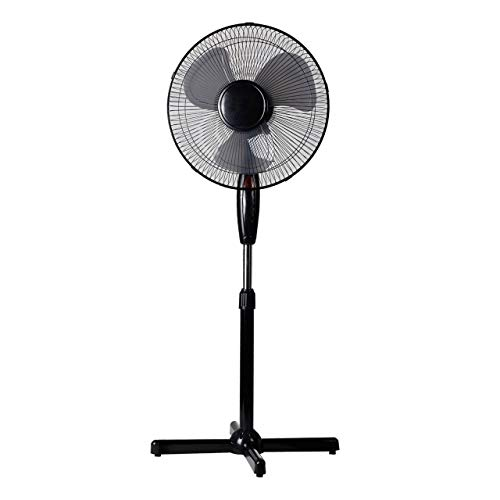 Lex-Standventilator--40cm-40-Watt-wei-Hhenverstellbar-bis-130cm--Oszillierend--Nachtlicht-Groer-Standlfter-Ventilator-Windmaschine-Leiser-Betrieb-FarbeSchwarz