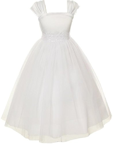 Flower Girl Cap Sleeved Beaded White Dress First Holy Communion Size 2-16 (8, White) (8 Girl Size White Dress Flower)