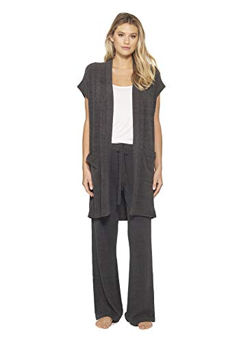 Barefoot Dreams CozyChic Ultra Lite Women Sleeveless Long Cardigan - Carbon - X-Small