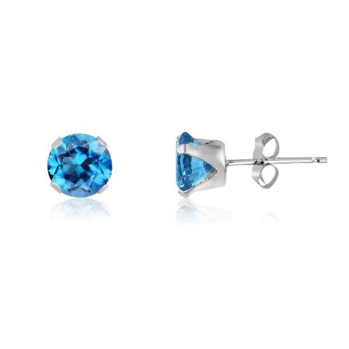 Kezef rond 6 mm topaze bleu suisse Boucles d'Oreilles Clous Fille-Argent 925/1000