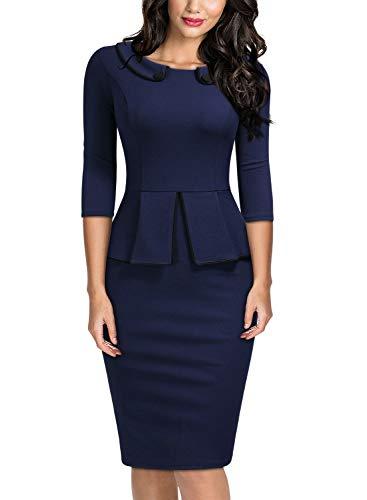 Miusol Women's Vintage 2/3 Sleeve Slim Style Evening Party Pencil Dress,Small,A-Navy Blue (Miusol Women Work Dresses)