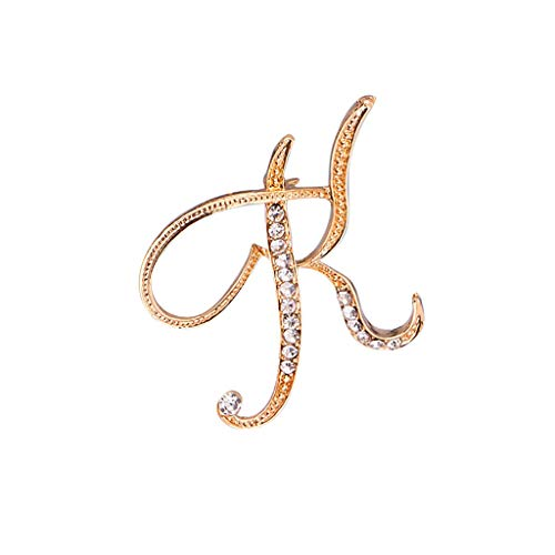 ANDLUV A-Z Letter Brooch Pin Initial Alphabet Gold-Plated Rhinestone Scarf Buckle Pin (K)
