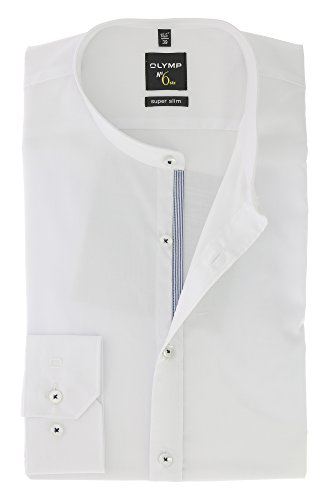 OLYMP Hemd Serie No. SIX Super Slim mit Stehbund Kragen Gr.41 Weiss