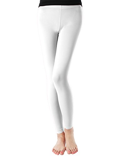 H2H SPORT Women's Skin Tights Compression Base Layer Running Leggings Pants WHITE US L/Asia XL (KWBLP016)