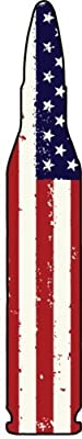 BULLET Vinyl Decal Sticker - Bullet Silhouette AMERICAN FLAG Sticker - Bullet Bumper Sticker - Great Gun 2nd Amendment Patriot Molon Labe Gift - Made in the USA