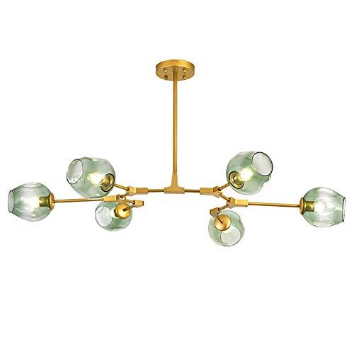 Bedroom Ceiling Lights, 6/7/8 Light Modern Transparent Glass Chandelier with Adjustable Swivel Bracket Bubble Ball Gold Pendant Lighting Fixture, Light Green,Gold,6heads