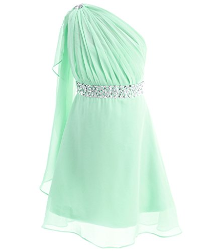 FAIRY COUPLE Big Girl's One Shoulder Embellished Short Chiffon Flower Girl Dress K0140 12 Mint (Green Fairy Dress)
