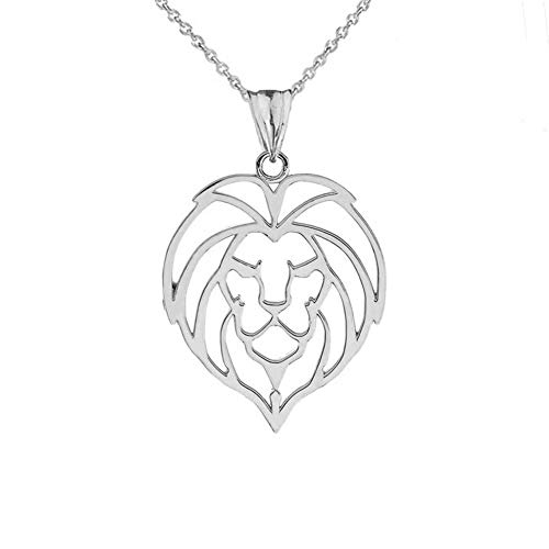 (Fine Sterling Silver Lion Head Outline Charm Pendant Necklace, 16