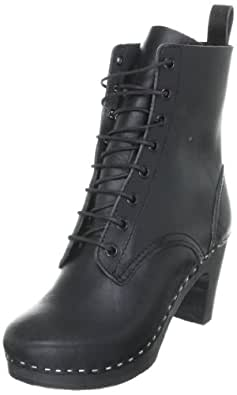 swedish hasbeens Women's Grandma Lace-Up Boot,Black/Black,6 M US