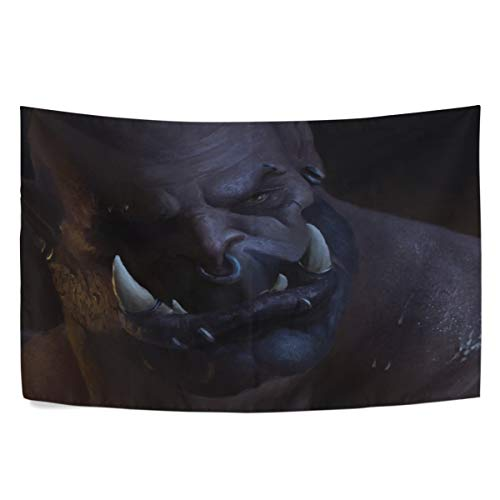 MAXM World of Warcraft Warlords of Draenor Orc Garrosh Hellscream Wall Hanging Tapestry Bedroom Living Room Beach Doorway Curtain Christmas Thanksgiving Day Decoration 60 X 40 Inch (World Of Warcraft Warlords Of Draenor Cheap)