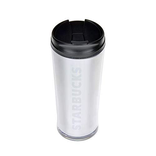 Starbucks Silver Travel Cup Tumbler 16 oz 2015 Mug Hot or Cold Drinks Screw Lid NEW (Silver)