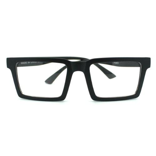 Matte Black Square Geometric Wayfarer Clear Lens Eye - Square Glasses Black